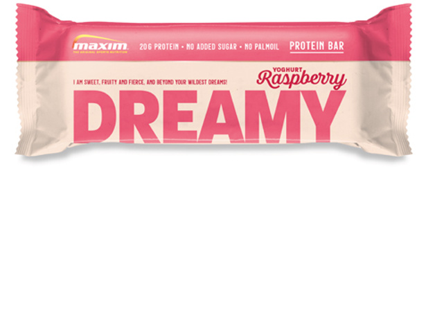 NYHET! Dreamy Bringebær og Yoghurt Proteinbar 55g (12-pakk)